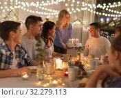Купить «happy family having birthday party at home», фото № 32279113, снято 15 декабря 2018 г. (c) Syda Productions / Фотобанк Лори