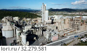 Купить «View from drone of cement plant industrial area, Catalonia, Spain», видеоролик № 32279581, снято 25 декабря 2018 г. (c) Яков Филимонов / Фотобанк Лори
