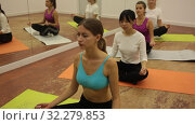 Group lesson on hatha yoga in the studio. Стоковое видео, видеограф Яков Филимонов / Фотобанк Лори