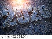 Купить «2020 on circuit board or motherboard with cpu. Computer technology and internet commucations digital concept background. Happy new 2020 year.», фото № 32284041, снято 20 января 2020 г. (c) Maksym Yemelyanov / Фотобанк Лори