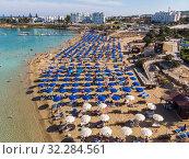 Купить «Protaras, Cyprus - Oct 11. 2019 The Famous fig tree beach of city», фото № 32284561, снято 11 октября 2019 г. (c) Володина Ольга / Фотобанк Лори