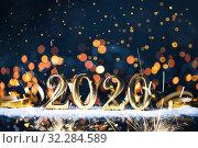 Купить «Christmas decoration and snow with bright background and copy space», фото № 32284589, снято 30 августа 2019 г. (c) Евдокимов Максим / Фотобанк Лори