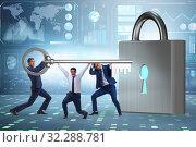 Купить «Businessmen unlocking new opportunity with key», фото № 32288781, снято 6 декабря 2019 г. (c) Elnur / Фотобанк Лори