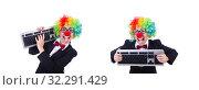 Купить «Funny clown with keyboard on white», фото № 32291429, снято 8 мая 2013 г. (c) Elnur / Фотобанк Лори
