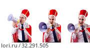 Купить «King businessman with loudspeaker isolated on white», фото № 32291505, снято 10 февраля 2013 г. (c) Elnur / Фотобанк Лори