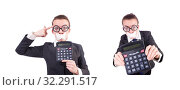 Купить «Woman with calculator in fraud concept isolated on white», фото № 32291517, снято 11 января 2013 г. (c) Elnur / Фотобанк Лори