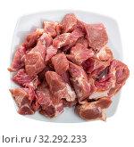 Купить «Uncooked pork on wooden background», фото № 32292233, снято 22 октября 2019 г. (c) Яков Филимонов / Фотобанк Лори