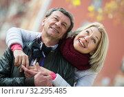 Купить «Mature loving couple in spring park», фото № 32295485, снято 17 октября 2019 г. (c) Яков Филимонов / Фотобанк Лори