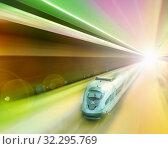 Купить «Speed of train traveling», фото № 32295769, снято 4 марта 2013 г. (c) Яков Филимонов / Фотобанк Лори