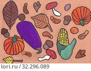 Купить «Осенний принт для ткани. Детский рисунок, смешанная техника», иллюстрация № 32296089 (c) Ирина Борсученко / Фотобанк Лори