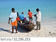 Купить «Local fishermen, Kendwa, Zanzibar, Tanzania, Africa», фото № 32296253, снято 6 октября 2019 г. (c) Знаменский Олег / Фотобанк Лори