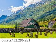 Купить «Norway, Sogn of Fjordane county. Cemetery in Olden», фото № 32296281, снято 6 августа 2020 г. (c) Николай Коржов / Фотобанк Лори