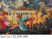 Купить «Palekh traditional miniature, Palekh, Ivanovo region, Russia.», фото № 32296485, снято 7 сентября 2018 г. (c) age Fotostock / Фотобанк Лори