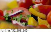 Купить «fresh vegetable salad seasoning with sea salt», видеоролик № 32298245, снято 10 октября 2019 г. (c) Syda Productions / Фотобанк Лори