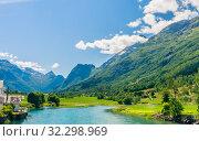 Купить «The River Oldeelva. Olden. Norway», фото № 32298969, снято 6 августа 2020 г. (c) Николай Коржов / Фотобанк Лори