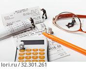 Купить «Маленькие человечки с кассовыми чеками и калькулятором. Контроль расходов.», фото № 32301261, снято 14 июля 2019 г. (c) Элина Гаревская / Фотобанк Лори