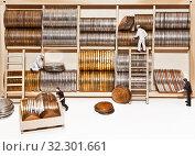 Люди-куклы сортируют монеты в ячейки на деревянном стеллаже. Стоковое фото, фотограф Элина Гаревская / Фотобанк Лори