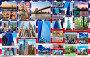 Купить «New York city pictures collage of different famous locations landmark of New York, United States,, USA with American flag on background.», фото № 32303721, снято 19 октября 2019 г. (c) easy Fotostock / Фотобанк Лори