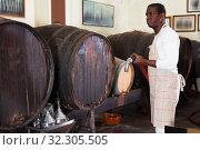 Купить «Wine producer controlling production wine in winery, preparing for wine filtration», фото № 32305505, снято 1 августа 2019 г. (c) Яков Филимонов / Фотобанк Лори