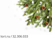 Купить «Christmas tree branch decorated with cones and snowflakes on a white background», фото № 32306033, снято 19 октября 2019 г. (c) Юлия Бабкина / Фотобанк Лори