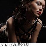 Купить «Beautiful brunette with chain collar over her neck», фото № 32306933, снято 21 ноября 2016 г. (c) Гурьянов Андрей / Фотобанк Лори