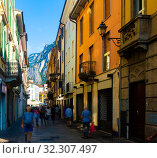 Typical street of Italian city of Lecco. Стоковое фото, фотограф Яков Филимонов / Фотобанк Лори