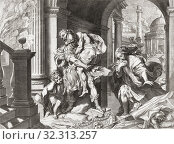 As Troy burns behind him Trojan hero Aeneas and his family flee. He carries his father Anchises on his back. After a print based on a painting by Federico Barocci. Стоковое фото, фотограф Classic Vision / age Fotostock / Фотобанк Лори