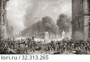 Купить «An incident on a barricade in the Place Royale facing the Parc de Bruxelles during the Belgian Revolution of 1830-1831. Belgian rebels facing Dutch forces.», фото № 32313265, снято 1 января 2019 г. (c) age Fotostock / Фотобанк Лори