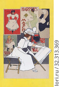 Купить «A poster from 1897 showing a woman looking at prints in an art shop. By Belgian graphic artist Armand Rassenfosse, 1862-1934.», фото № 32313369, снято 5 июля 2019 г. (c) age Fotostock / Фотобанк Лори