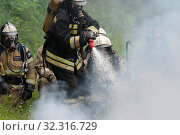 Купить «Firefighters of Fire Department of Federal Fire Service in Kamchatka Territory during fire extinguishing, training to overcome fire zone of psychological training for firefighters», фото № 32316729, снято 7 августа 2019 г. (c) А. А. Пирагис / Фотобанк Лори
