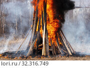 Bonfire of wooden boards and car tires, flame of red fire, curling black smoke. Стоковое фото, фотограф А. А. Пирагис / Фотобанк Лори