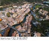 Aerial view of typical town of Basque Country. Estella-Lizarra. Spain (2018 год). Стоковое фото, фотограф Яков Филимонов / Фотобанк Лори