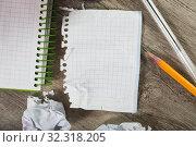 Купить «Torn crumpled notebook sheet», фото № 32318205, снято 13 ноября 2019 г. (c) Яков Филимонов / Фотобанк Лори