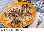 Купить «Barley porridge with mushrooms», фото № 32318273, снято 9 апреля 2020 г. (c) Яков Филимонов / Фотобанк Лори