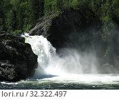 Водопад на реке Урик в Саянах. Стоковое фото, фотограф Юрий Хабаров / Фотобанк Лори