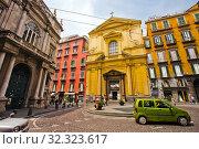 Basilica dello Spirito Santo church, at left Palazzo Doria d'Angri, piazza Sette Settembre square, Naples city, Campania, Italy, Europe. Стоковое фото, фотограф Jose Peral / age Fotostock / Фотобанк Лори