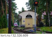Купить «Малая Московская детская железная дорога, город Жуковский», фото № 32326609, снято 12 августа 2018 г. (c) Natalya Sidorova / Фотобанк Лори