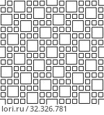 Купить «Abstract seamless geometric pattern with square elements. Simple black and white linear mosaic texture. Vector», иллюстрация № 32326781 (c) Dmitry Domashenko / Фотобанк Лори