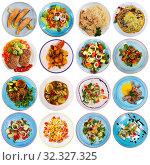 Купить «Collection of dishes on round plates», фото № 32327325, снято 21 февраля 2020 г. (c) Яков Филимонов / Фотобанк Лори