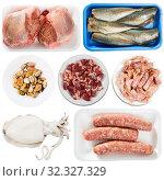Raw meat, poultry fish isolated on white background, nobody. Стоковое фото, фотограф Яков Филимонов / Фотобанк Лори