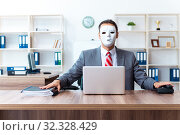 Купить «Businessman wearing mask in hypocrisy concept», фото № 32328429, снято 24 июня 2019 г. (c) Elnur / Фотобанк Лори