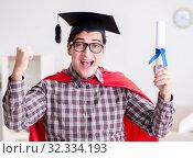 Купить «Super hero student graduating wearing mortar board cap», фото № 32334193, снято 22 декабря 2016 г. (c) Elnur / Фотобанк Лори