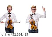 Купить «Young funny violin player isolated on white», фото № 32334425, снято 17 января 2014 г. (c) Elnur / Фотобанк Лори