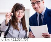 Купить «Real estate agent showing new apartment to owner», фото № 32334737, снято 27 марта 2018 г. (c) Elnur / Фотобанк Лори