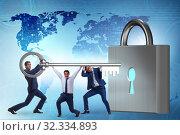 Купить «Businessmen unlocking new opportunity with key», фото № 32334893, снято 6 декабря 2019 г. (c) Elnur / Фотобанк Лори