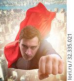 Купить «The flying super hero over the city», фото № 32335021, снято 6 декабря 2019 г. (c) Elnur / Фотобанк Лори