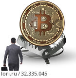 Купить «The businessman falling into the trap of bitcoin cryptocurrency», фото № 32335045, снято 22 ноября 2019 г. (c) Elnur / Фотобанк Лори