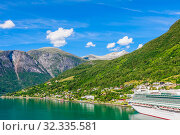 Купить «P&O Cruises cruise liner Ventura moored in Olden at the end of Innvikfjorden in western Norway», фото № 32335581, снято 26 мая 2020 г. (c) Николай Коржов / Фотобанк Лори