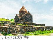 beautiful old monastery Sevanavank on the shores of Lake Sevan Armenia sight (2018 год). Стоковое фото, фотограф Константин Лабунский / Фотобанк Лори