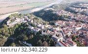 Купить «Aerial view of Santarem district with buildings and landscape, Portugal», видеоролик № 32340229, снято 21 апреля 2019 г. (c) Яков Филимонов / Фотобанк Лори